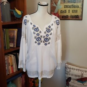 Krista Lee Peasant Blouse Embroidered L